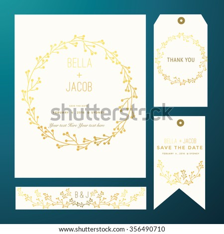 Save the date cards, Gold Version. - stock vector
