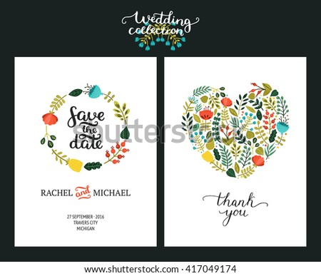 Save the date cards, wedding invitation with hand drawn lettering, flowers and branches. Vector templates - stock vector