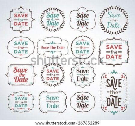 Save date collection calligraphic typographic premium Collect and save
