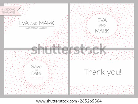 Save the date collection. Wedding invitation set with pink confetti - stock vector