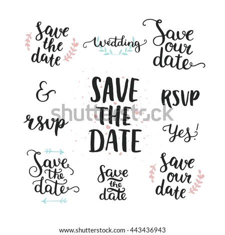 Save Date Collection Hand Drawn Lettering Stock Vector