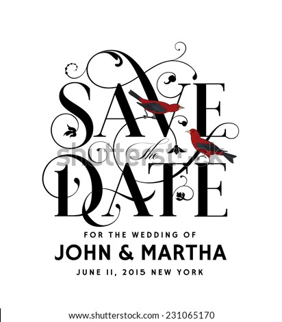 Save the Date Creative Lettering with Birds - stock vector