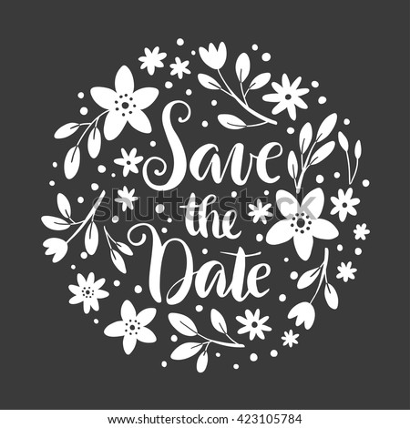 Save the Date floral illustration for wedding decor or Valentine card - stock vector