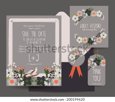 Save The Date Flower Card - stock vector