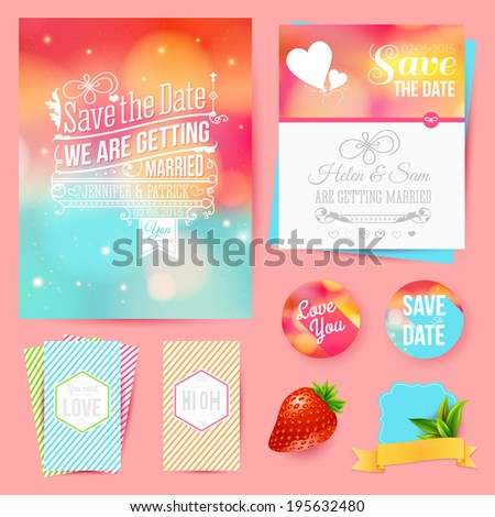 Save the date for personal holiday. Set of wedding invitation cards. Vector image. - stock vector