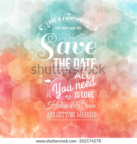 Save the date for personal holiday. Wedding invitation. Vector image.  - stock vector