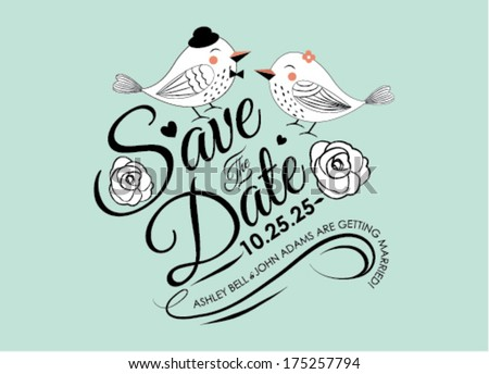 Save the Date Invitation Card Design in Vector - stock vector