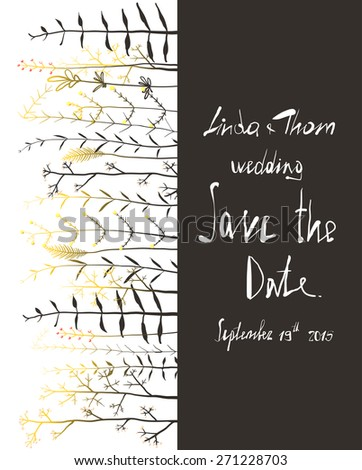 Save the Date Invitation Card Template with Flowers. Wedding card with horizontal grass on black and white text illustration. Vector EPS10.