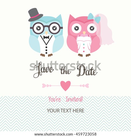 Save date invitation cardwedding invitationlove owlsvector stock save the date invitation card with text youre invitedding invitation love stopboris Choice Image