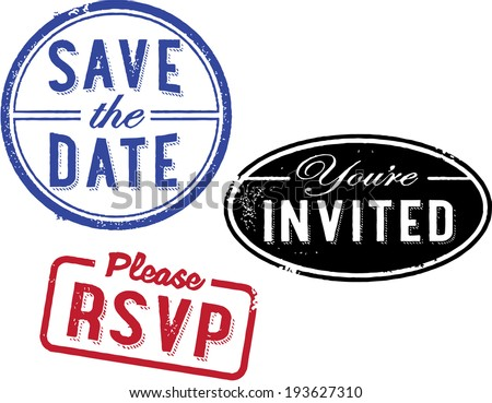 Save the Date Invitation Stamps - stock vector