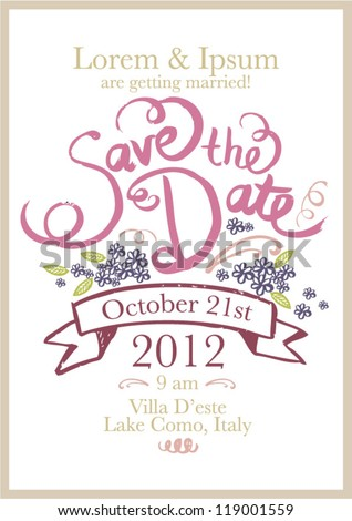 Save Date Invitation Template Vectorillustration Stock Vector ...