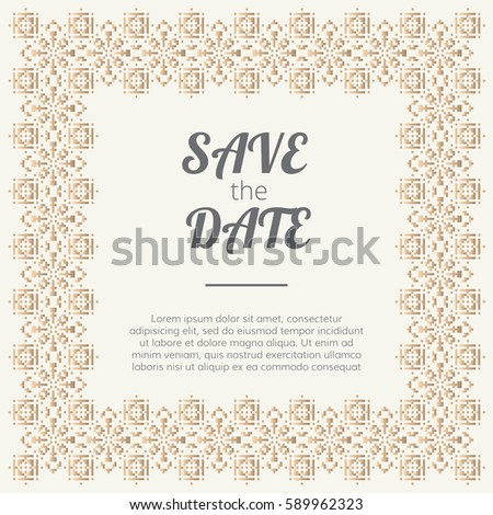 Save Date Invitation Wedding Card Golden Stock Vector