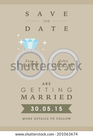Save the date invitation wedding ring themes - stock vector
