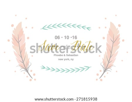 Save the Date Invitation with Feathers on White Background - stock vector