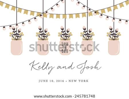 Save the Date Invitation with Hanging Mason Jars on White Background - stock vector