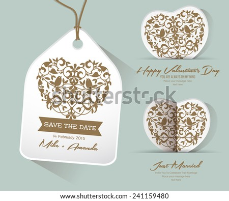 Save the date Just Married, Happy Valentine's Day - stock vector