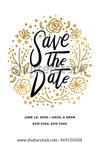 Save the Date Printable with Hand Drawn Texts in Vector