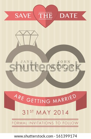 Save the date ring style invitation - stock vector