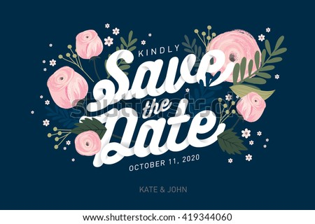 save the date template vector/illustration