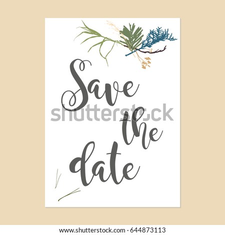 Save Date Text Calligraphy Vector Minimalistic Stock Vector - Save the date text template