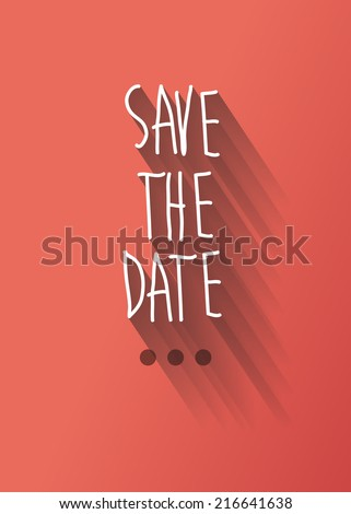 save the date typo with shadow vector, wedding theme - stock vector