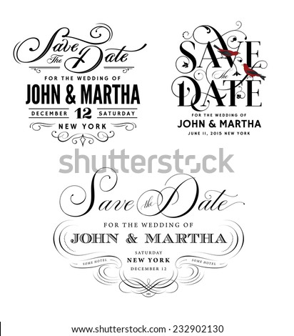 Save the Date Vintage Templates - stock vector