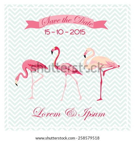 Save the Date - Wedding Card with Flamingo Birds - in vector - stock vector