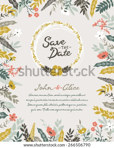 Save the date. Wedding invitation card. - stock vector