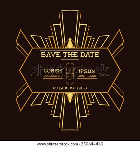 Save date wedding invitation card art stock vector 250644460 save the date wedding invitation card art deco vintage style in vector stopboris Images