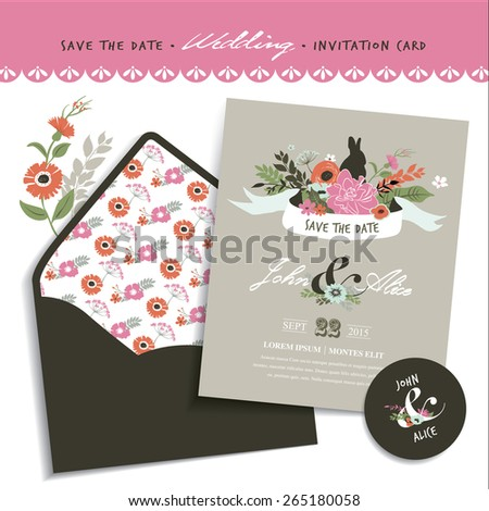 Save the date. Wedding invitation card & envelope design. - stock vector