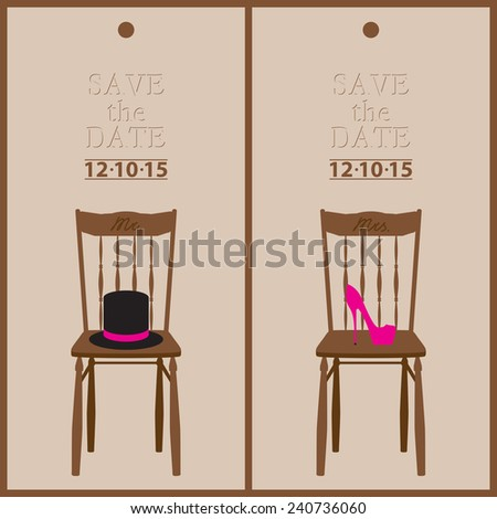 save the date wedding invitation card mr & mrs template vector illustration - stock vector