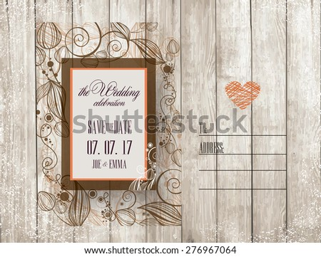Save The Date. Wedding Invitation Card on wooden background with flowers - stock vector