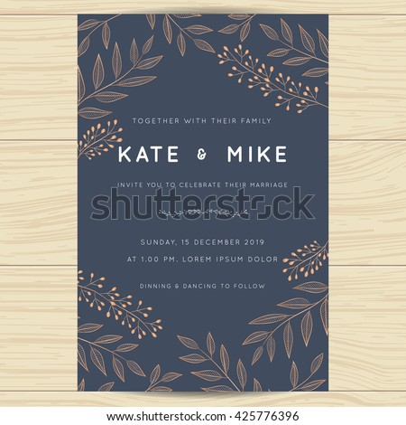 Save date wedding invitation card template stock vector 425776396 save the date wedding invitation card template with copper color flower floral background vector stopboris Images