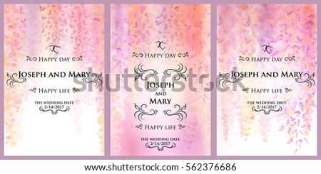 Save date wedding invitation card template stock vector 562376686 save the date wedding invitation card template with gentle flowers of blooming wisteria floral stopboris Image collections
