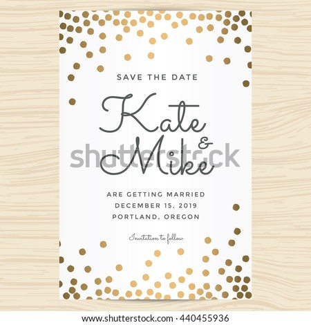 Save Date Wedding Invitation Card Template Stock Vector HD Royalty