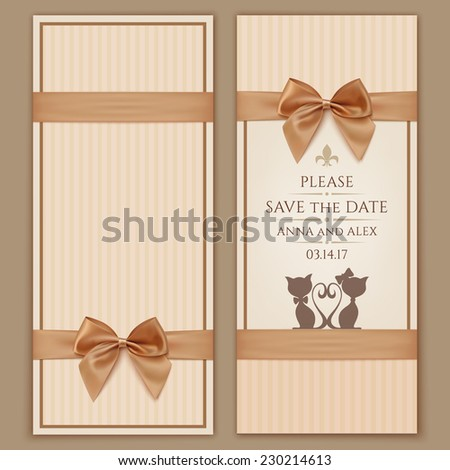 Save date wedding invitation card vintage stock photo photo vector save the date wedding invitation card ntage greeting card template with golden bow and stopboris Image collections