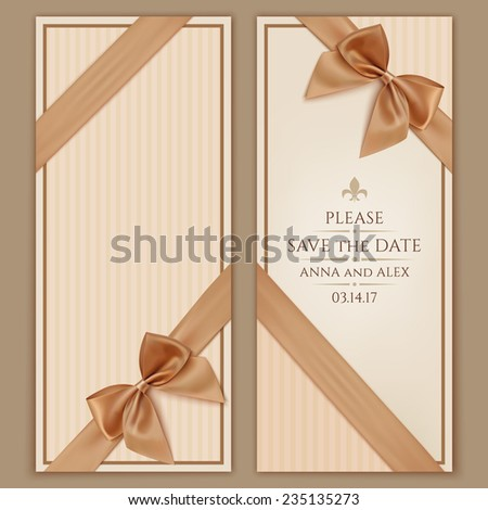 Save date wedding invitation card vintage stock vector 235135273 save the date wedding invitation card ntage greeting card template with golden bow and stopboris Image collections