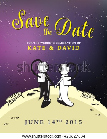 Save the date wedding invitation card with astronauts in the moon background - stock vector