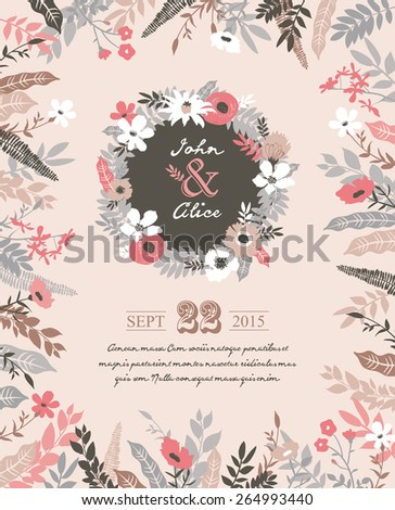 Save the date. Wedding invitation card with beautiful flourish elements. - stock vector