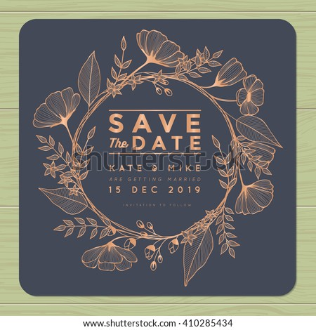 Save the date, wedding invitation card with wreath flower template. Flower floral background. Vector illustration.