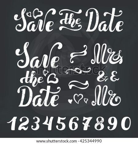Save datewedding invitation cardsvector lettering template stock wedding invitation cardsctor lettering template vectorhandwriting text titles stopboris