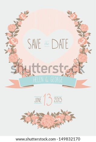 save the date wedding invitation, shabby chic template vector illustration - stock vector