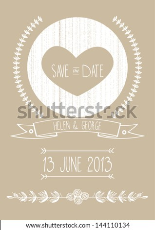 save the date wedding invitation template vector illustration - stock vector