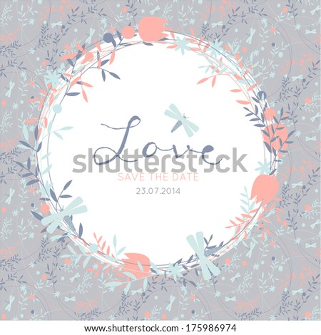 Save the date wedding invitation template. Vector illustration - stock vector