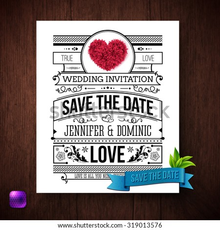 save the date wedding invitation template with black and white text decorated with curlicues and flowers - Save The Date Wedding Invitations