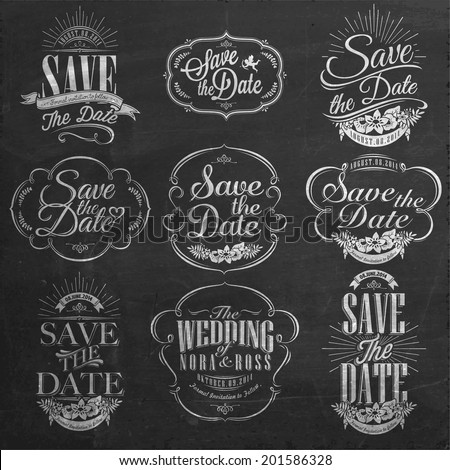 Save The Date, Wedding Invitation Vintage Typographic Design Elements On Chalkboard - stock vector