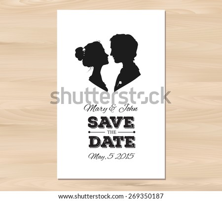 Save the date template stock images royalty free images vectors save the date wedding invitation with profile silhouettes of man and woman card template on pronofoot35fo Image collections