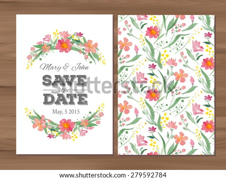 Save the date wedding invitation with watercolor flowers. Card template on a wooden background. Seamless illustrator swatch for back side included. Free fonts used - Nexa Rust, Alex Brush, Crimson - stock vector