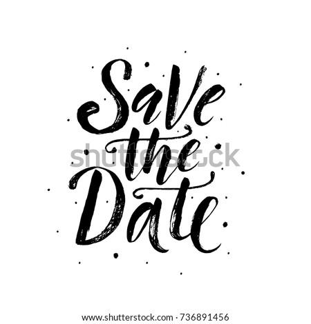 save date wedding phrase brush letteringのベクター画像素材 736891456