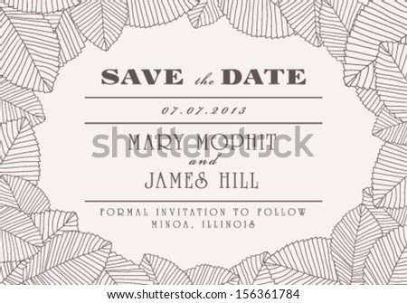 Save the Date with ornaments of leaves